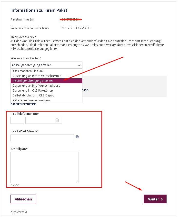 Hermes Abstellgenehmigung Online Erteilen